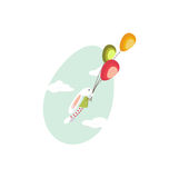 逗人喜爱的复活节兔子飞行气球 图库摄影