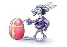 逗人喜爱的复活节兔子绘画鸡蛋 库存图片