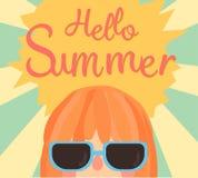逗人喜爱的夏天看板卡 你好夏天 例证传染媒介 向量例证
