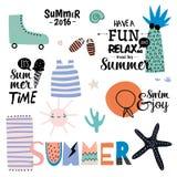 逗人喜爱的夏天设计斯堪的纳维亚人集合 向量例证