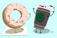 逗人喜爱的多福饼和咖啡 免版税库存照片