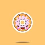 逗人喜爱的多福饼漫画人物愉快的微笑kawaii面孔食物 库存图片