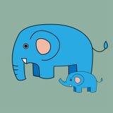 逗人喜爱的大象动画片和婴孩大象 免版税库存图片