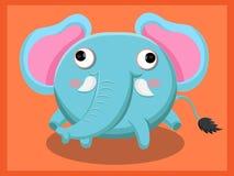 逗人喜爱的大象动画片 动物漫画人物滑稽的查出的对象向量 免版税库存照片