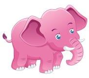 逗人喜爱的大象粉红色   库存例证