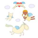 逗人喜爱的天使、猫和独角兽例证 皇族释放例证