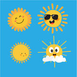 逗人喜爱的太阳字符 库存照片