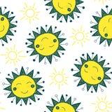 逗人喜爱的太阳无缝的样式 库存图片