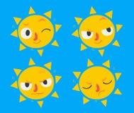 逗人喜爱的太阳集合 免版税图库摄影