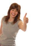 逗人喜爱的夫人赞许年轻人 免版税库存图片