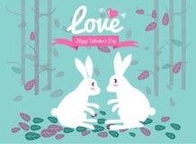 逗人喜爱的夫妇兔子在森林里。 图库摄影