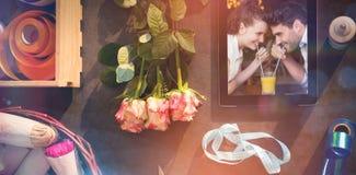 逗人喜爱的夫妇的综合图象在日期 图库摄影