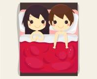 逗人喜爱的夫妇睡眠床 美好的向量 库存例证