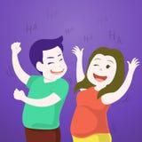 逗人喜爱的夫妇跳舞,一起笑在党 免版税图库摄影