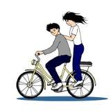 逗人喜爱的夫妇骑马自行车手拉的传染媒介例证设计 库存图片