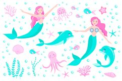 逗人喜爱的套美人鱼章鱼,鱼,水母,珊瑚公主和海豚, 水下的世界收藏 ?? 皇族释放例证