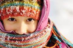逗人喜爱的女孩冬天纵向 免版税库存图片
