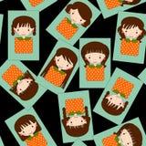 逗人喜爱的女孩动画片集合无缝的样式 库存照片
