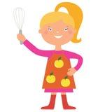 逗人喜爱的女孩厨师字符 免版税库存图片