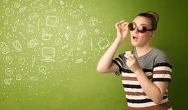 逗人喜爱的女孩吹的手拉的媒介象和标志 免版税库存照片