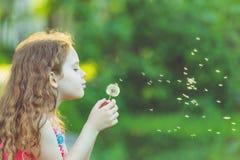 逗人喜爱的女孩吹的蒲公英在春天公园 免版税图库摄影