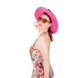逗人喜爱的女孩和她的太阳镜 免版税库存照片