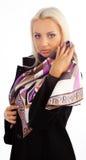 逗人喜爱的女孩围巾丝绸佩带 库存照片