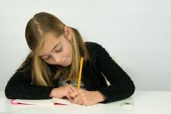 逗人喜爱的女孩在她纸书写,做家庭作业 免版税库存照片
