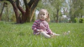逗人喜爱的女孩坐草在公园,单独使用,指向与一个微小的手指 无忧无虑儿童休息 股票视频