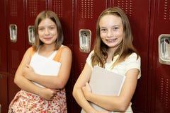 逗人喜爱的女孩学校 免版税库存照片