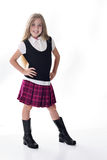 逗人喜爱的女孩少许紫色学校 库存照片