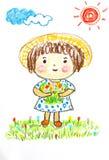逗人喜爱的女孩愉快在花田,上油淡色绘画illustrati 向量例证