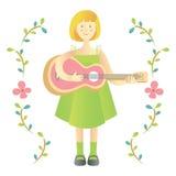 逗人喜爱的女孩戏剧吉他 库存图片