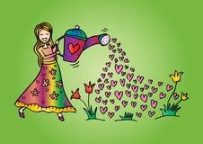逗人喜爱的女孩浇灌的花 向量例证