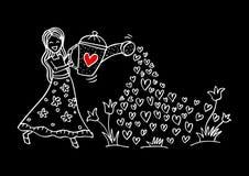 逗人喜爱的女孩浇灌的花 皇族释放例证
