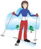 逗人喜爱的女孩滑雪 库存图片