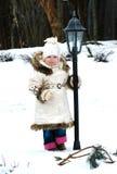 逗人喜爱的女孩灯笼一点在室外小附&# 库存图片