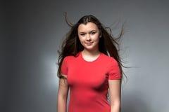 逗人喜爱的女孩照片有长的流动的头发的 库存图片