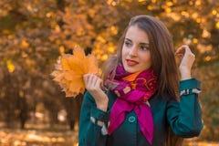逗人喜爱的女孩看起来去并且保持叶子手中 库存图片