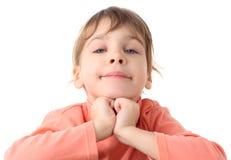 逗人喜爱的女孩纵向毛线衣变薄 免版税图库摄影