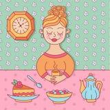 逗人喜爱的女孩茶咖啡甜点乱画传染媒介例证 图库摄影