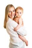 逗人喜爱的女孩藏品婴儿母亲 库存图片