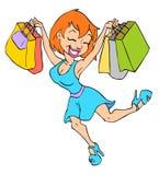 逗人喜爱的女孩购物 库存照片