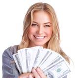 逗人喜爱的女孩赢取的金钱 免版税库存照片