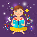 逗人喜爱的女孩阅读书关于魔术 库存例证