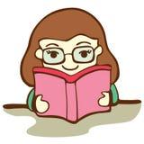 逗人喜爱的女孩阅读书 库存例证