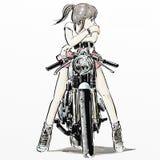 逗人喜爱的女孩骑马摩托车 免版税图库摄影