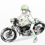 逗人喜爱的女孩骑马摩托车 库存图片