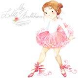 逗人喜爱的女孩 芭蕾舞女演员 芭蕾舞女演员逗人喜爱的女孩 芭蕾舞女演员水彩 库存例证