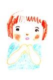 逗人喜爱的女孩画象,上油蜡笔画例证 库存图片